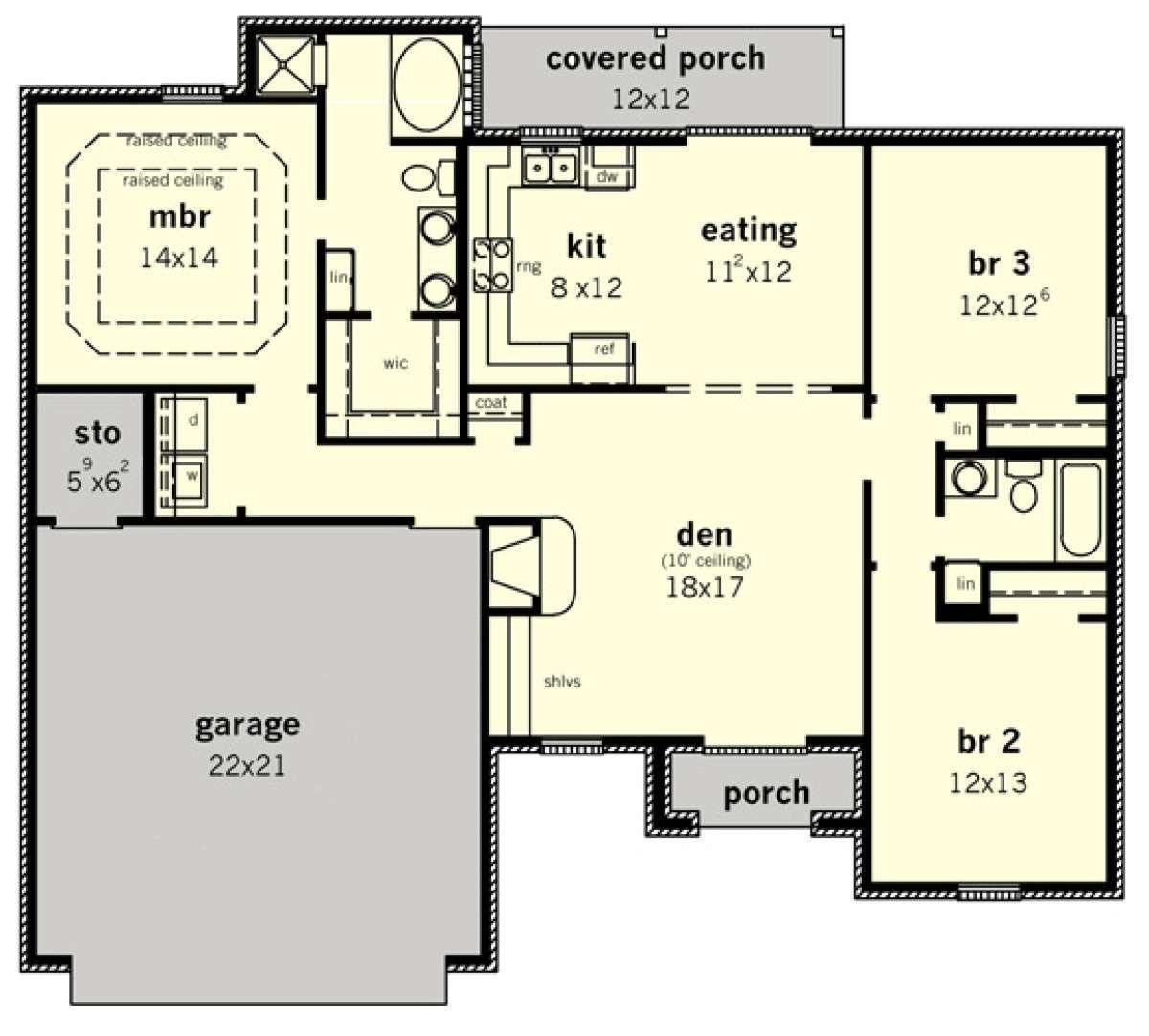 House Plan 9035 00060 European Plan 1 470 Square Feet 3 Bedrooms 2 Bathrooms Southern House Plans House Plans Floor Plans