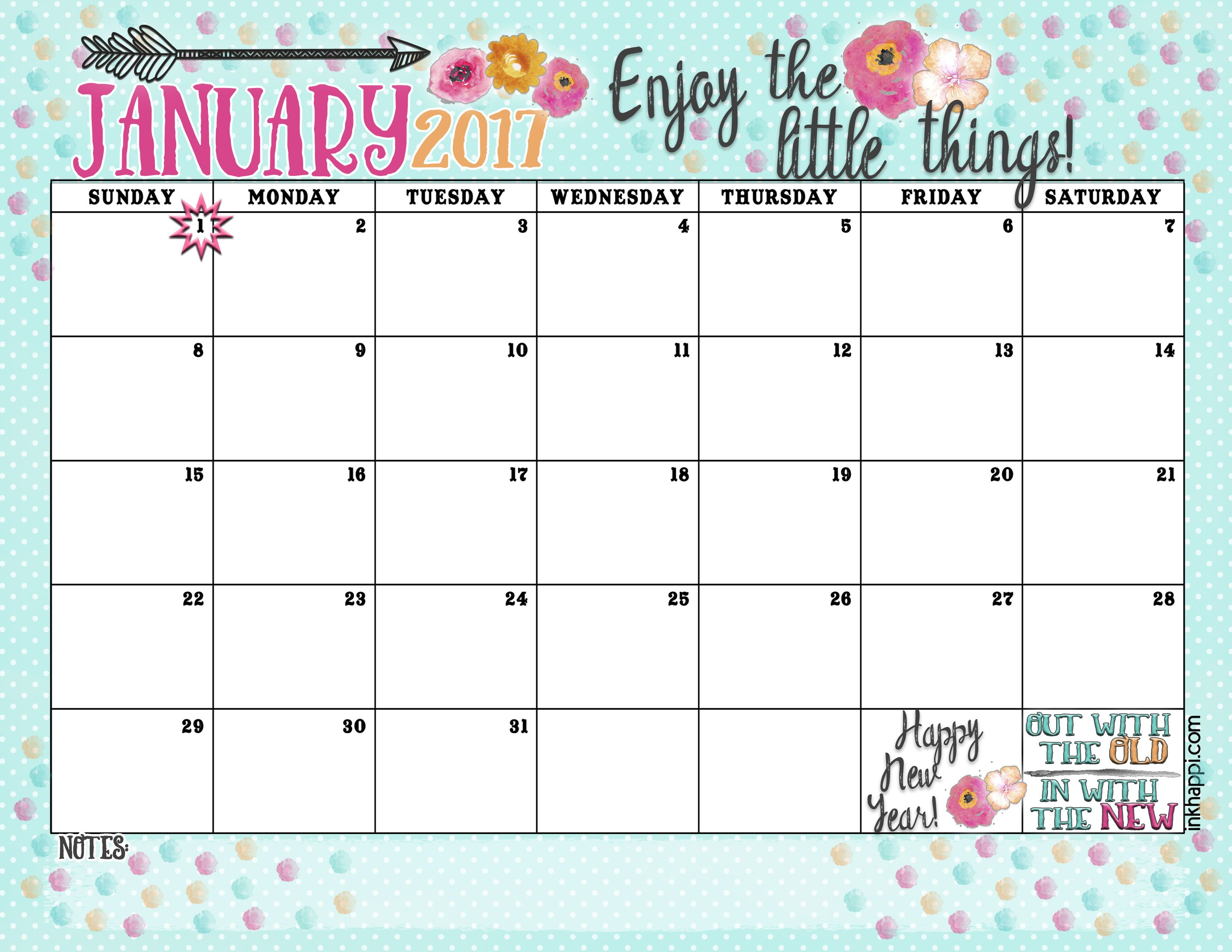 January Calendar And Print Enjoy The Little Things