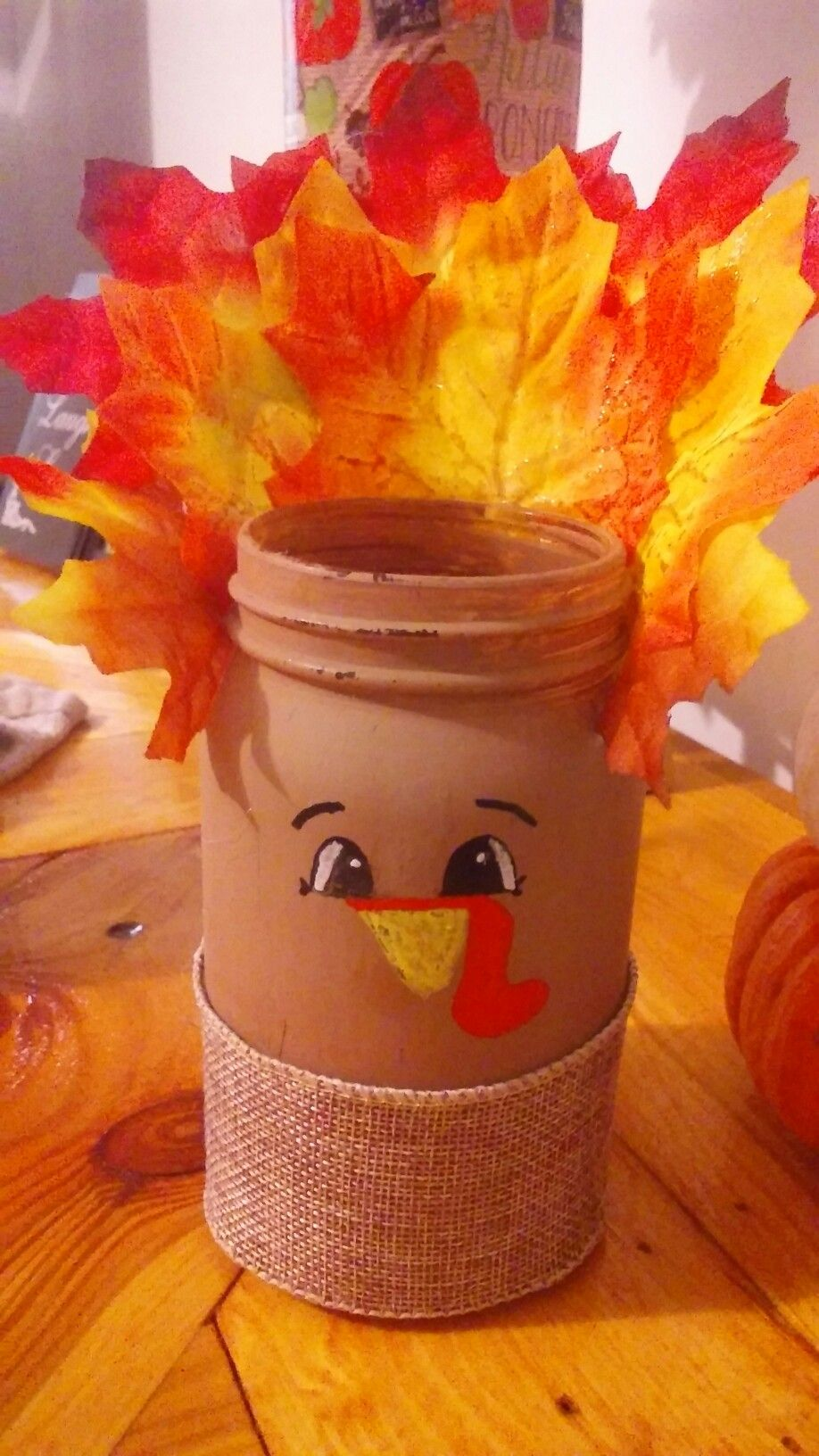 Mason Jar Turkey With Leaves As The