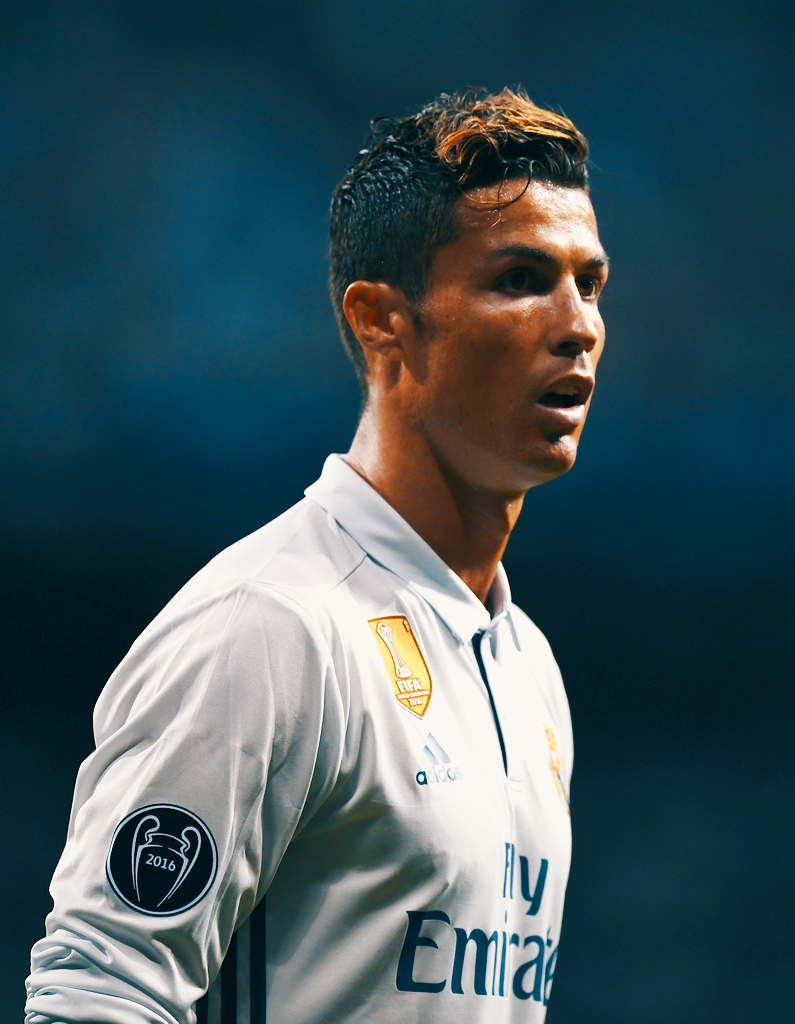Cristiano Ronaldo looks on during the UEFA Champions League Quarter Final second leg match between Real Madrid CF and FC Bayern Muenchen