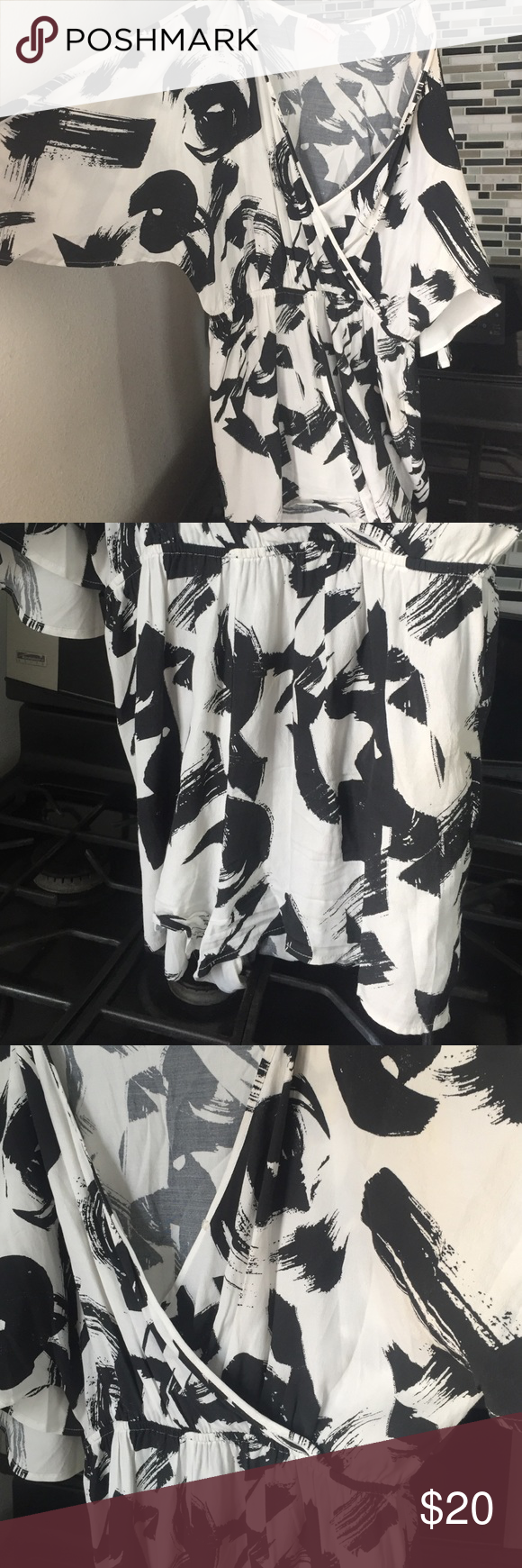 Black and white romper Cute black and white romper with low cut front Isla Other
