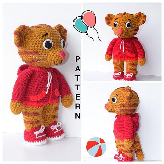 Daniel Tiger Amigurumi Pattern- Daniel Tiger Crochet Doll Pattern in ...