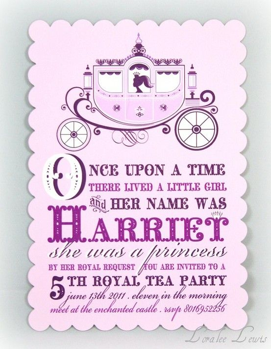 Birthday Party Invitation Tiny Toes Tiny Tots Princess Party