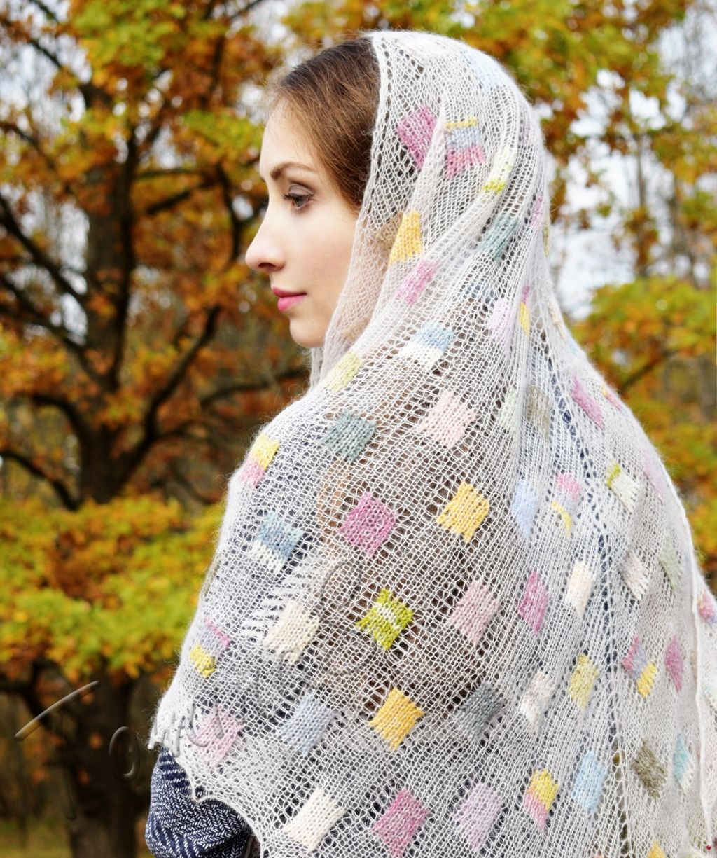 зимний вязаный платок