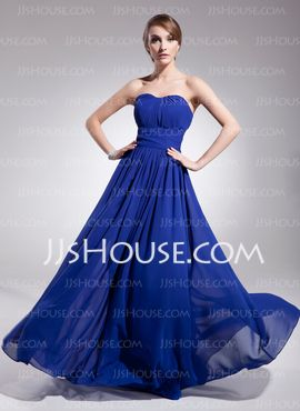 A-Line/Princess Sweetheart Floor-Length Chiffon Evening Dress With Ruffle (017014561) $119
