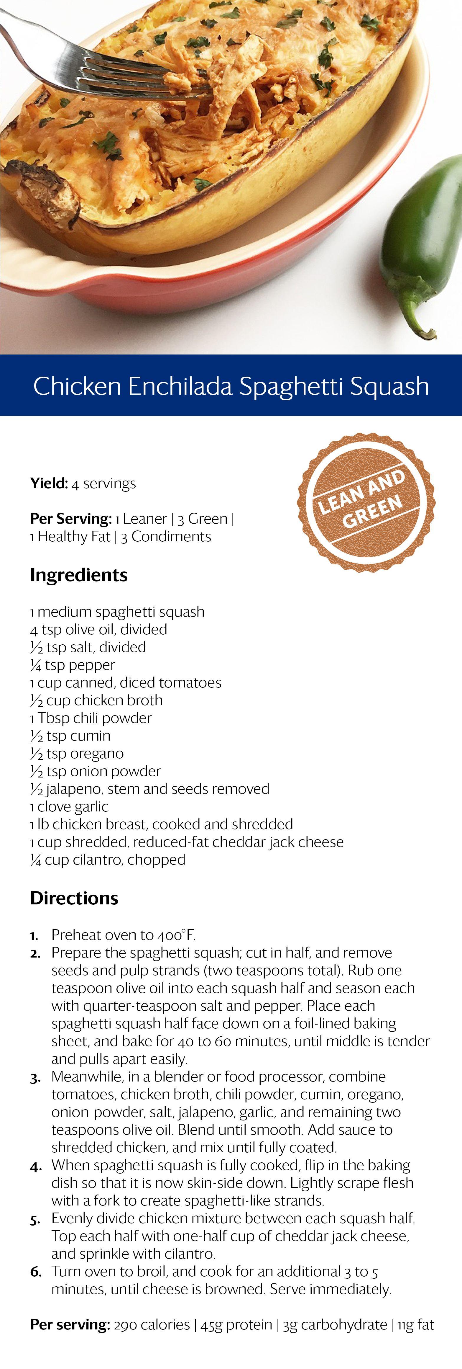 Chicken Enchilada Spaghetti Squash Healthy Recipes Lean
