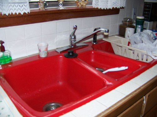 Red Kitchen Sink For The Home Pinterest Red Kitchen