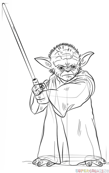 how to draw yoda with lightsaber stepstep drawing