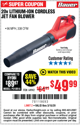 Bauer 20v Hypermax Lithium Cordless Jet Fan Blower For 49 99 In
