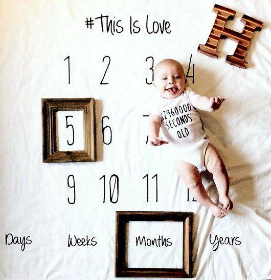 Newborn Baby Kid Girls Boy Infants Milestone Blanket Mat Photography Photo Props