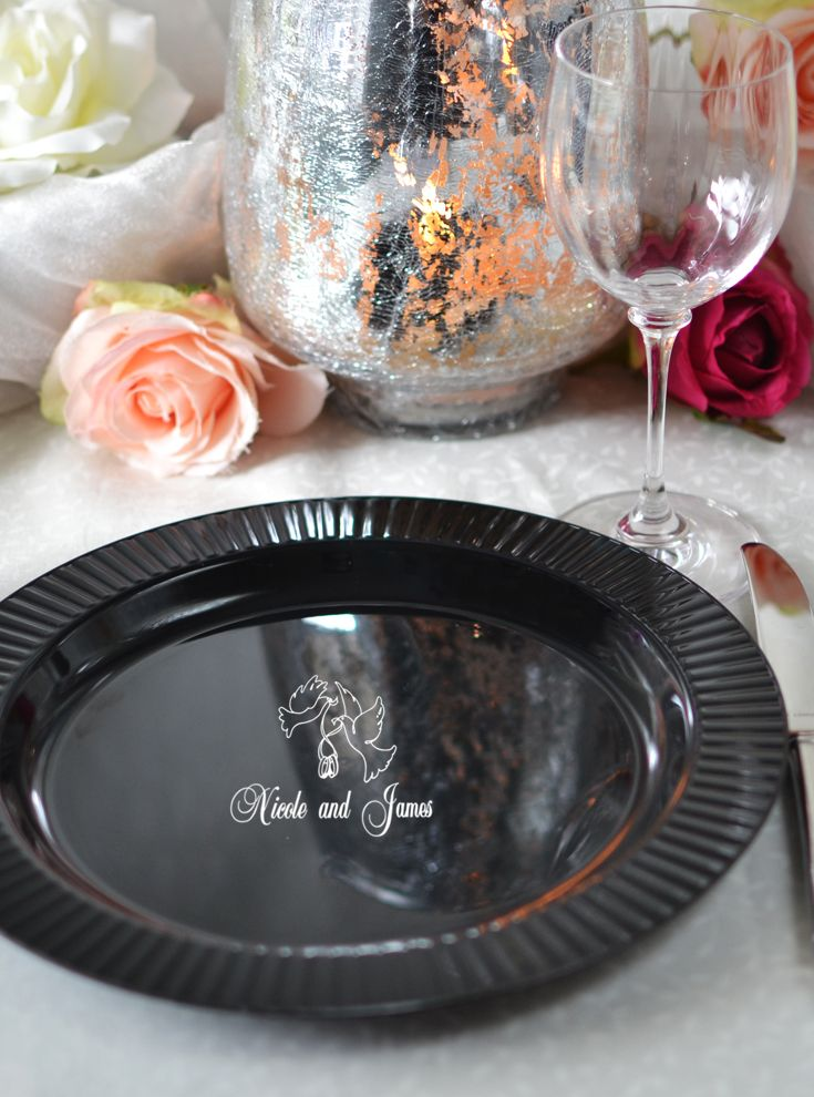 Reusable plastic fluted edge dinner plates personalized with a wedding design and up to 4 lines & Reusable plastic fluted edge dinner plates personalized with a ...