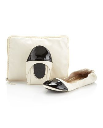 Foldable Ballerina Flats, Ivory/Black by CitySlips at Last Call by Neiman Marcus.