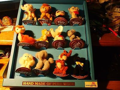 "Vintage Ara Mini Wool Pocket Pal Pet 3"" Display12pc Plush Animal Toy70'sAustria (09/11/2014)"