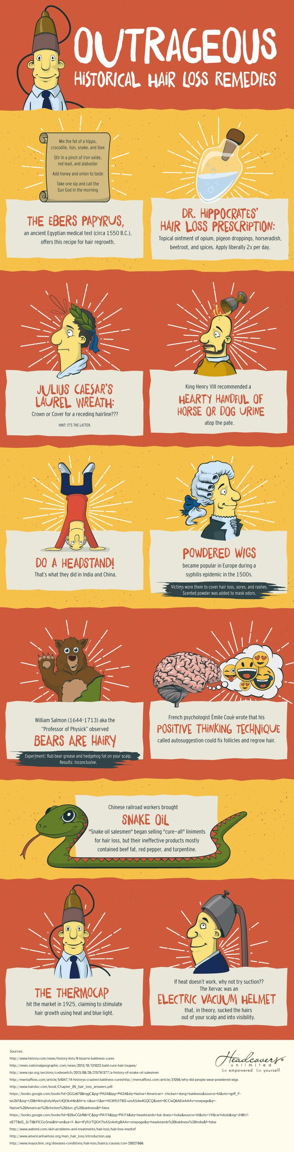 Outrageous Historical Hair Loss Remedies #infographic