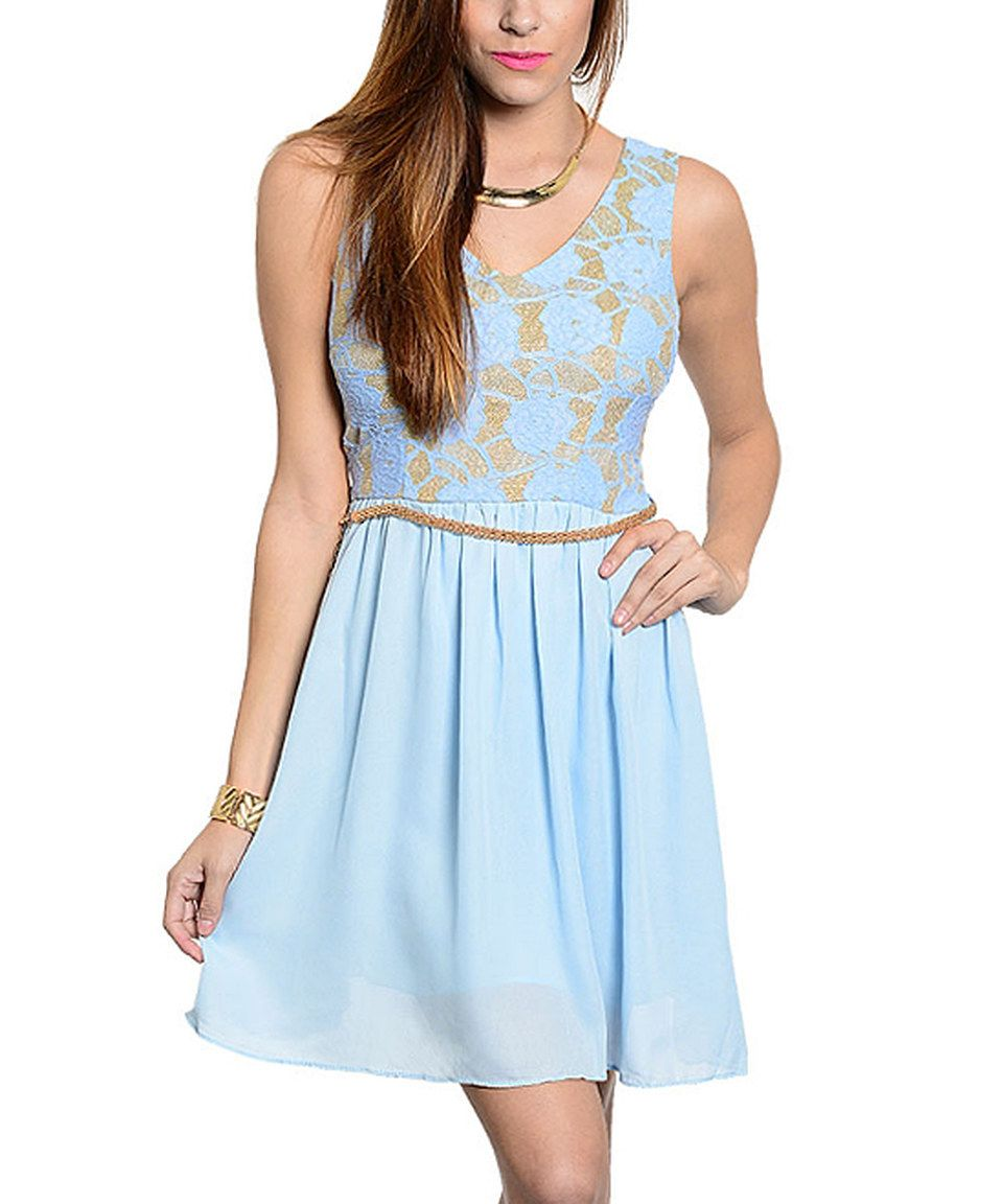 Love this Sky Blue & Gold Floral Belted A-Line Dress by  on #zulily! #zulilyfinds