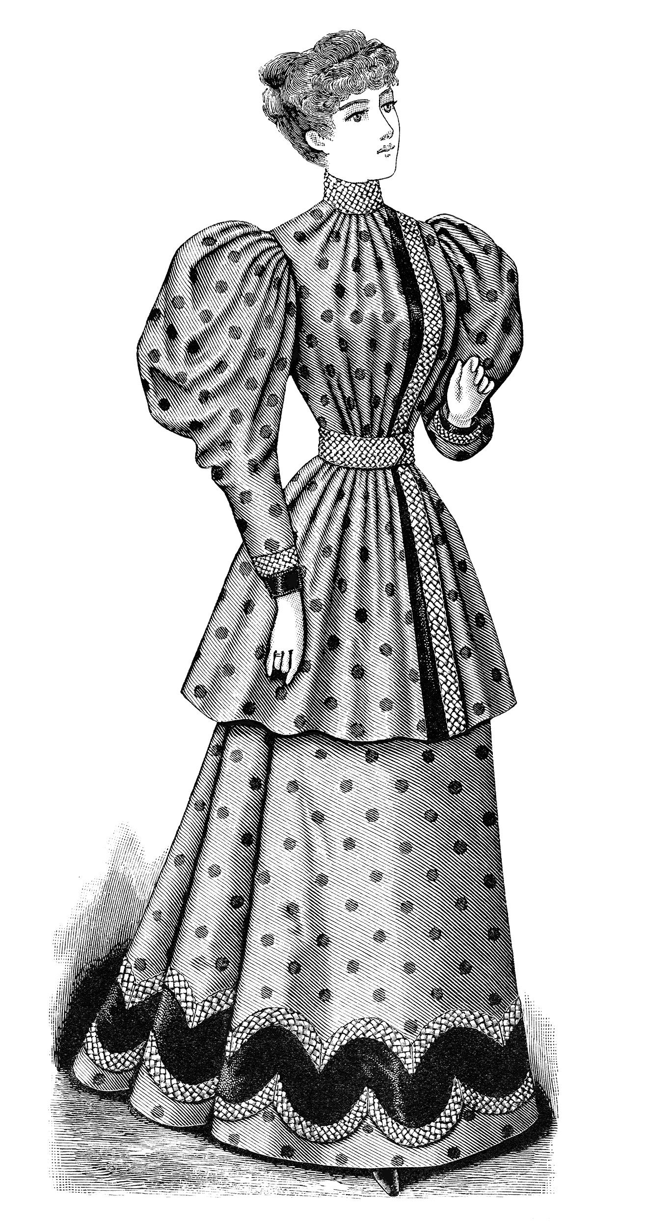 Fashion for women clip art - Black And White Clip Art Edwardian Fashion Vintage Dress Clipart Victorian Lady Victorian Gown Image Antique Clothing For Women Vintage Pinterest