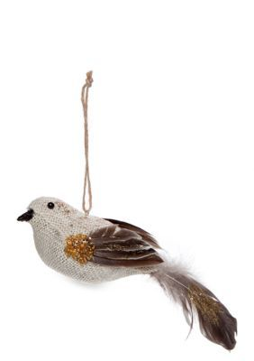 Home Accents  Woodland Wonder Burlap and Feather Tail Bird Ornament
