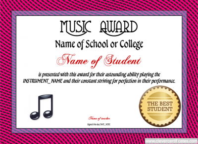 Music Award Template Awards To Congratulate Motivate And