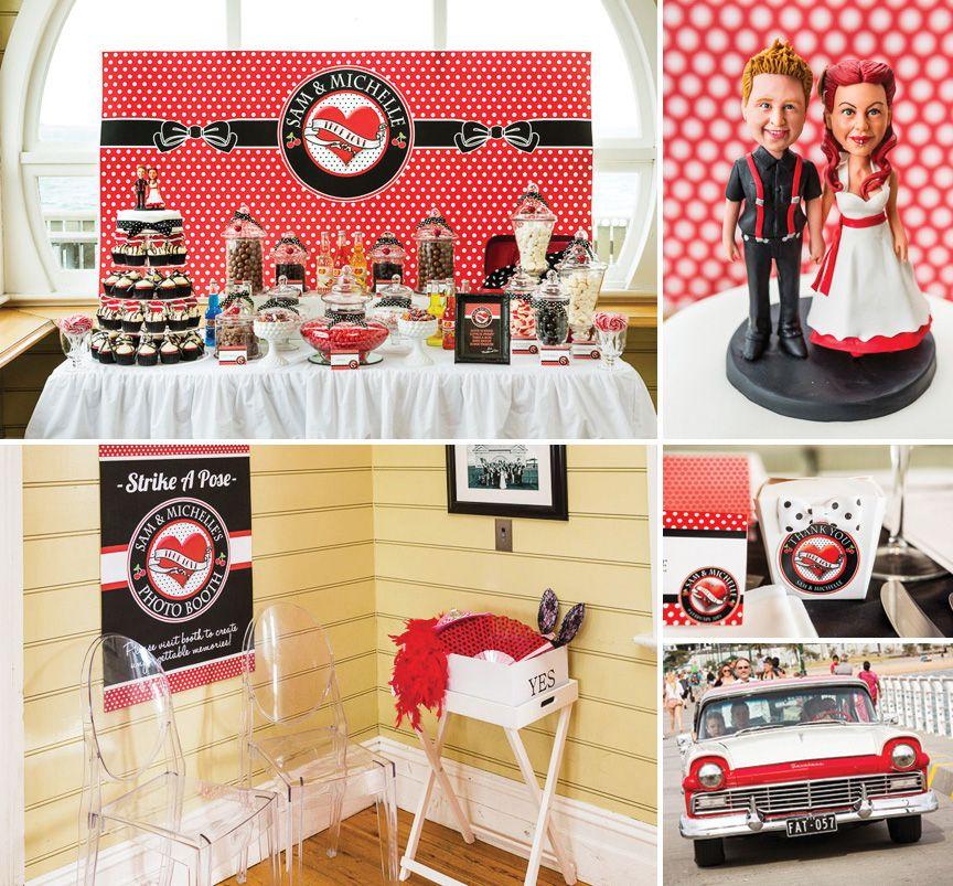 Rockabilly Wedding Ideas: Red, Black & White Rockabilly Wedding