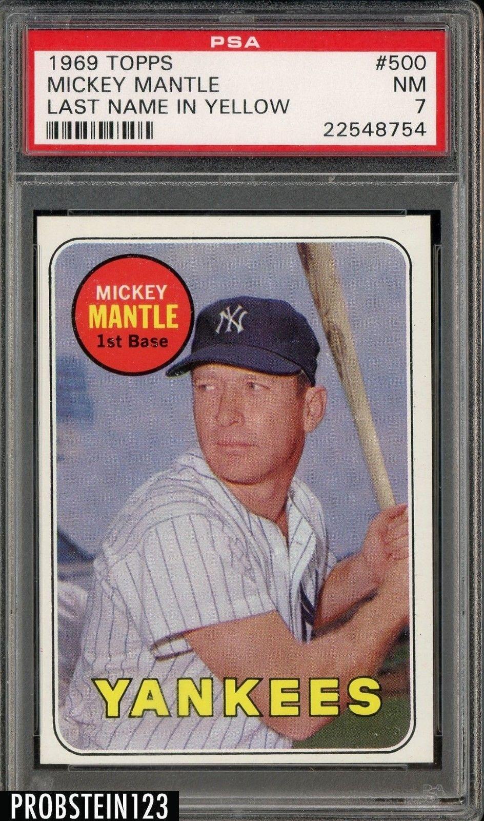 1969 topps 500 mickey mantle yankees hof last name in