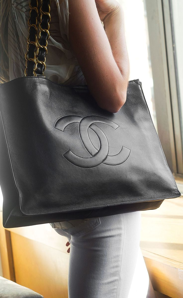 Chanel Black Leather Tote Vaunte Clothing Shoes Jewelry Women Handbags