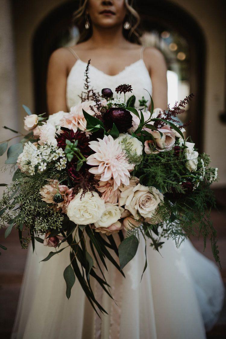 Burgundy and blush romantic boho hollywood wedding wedding in