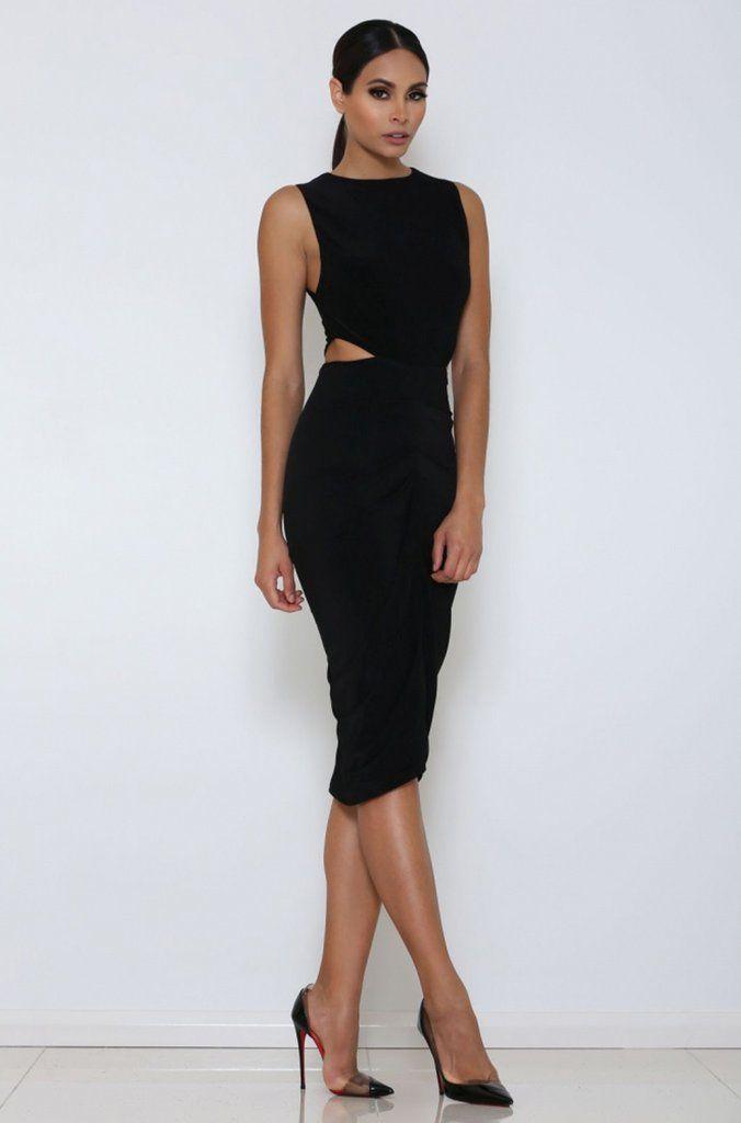 Side effects cut out black dress