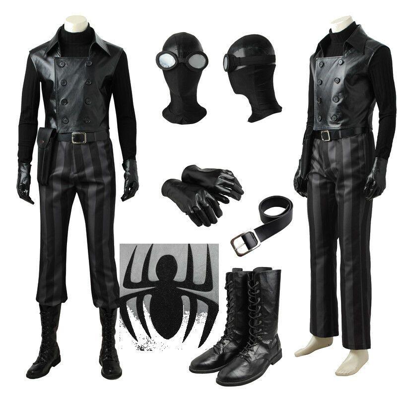 cee64e655ad Spiderman Noir Cosplay Costume Halloween Mask Glasses Belt Pants ...