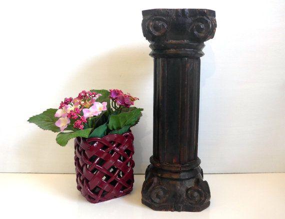 Vintage Shabby Chic Carved Wood Pillar Plant By FourthEstateSale - Column pedestal plant stand