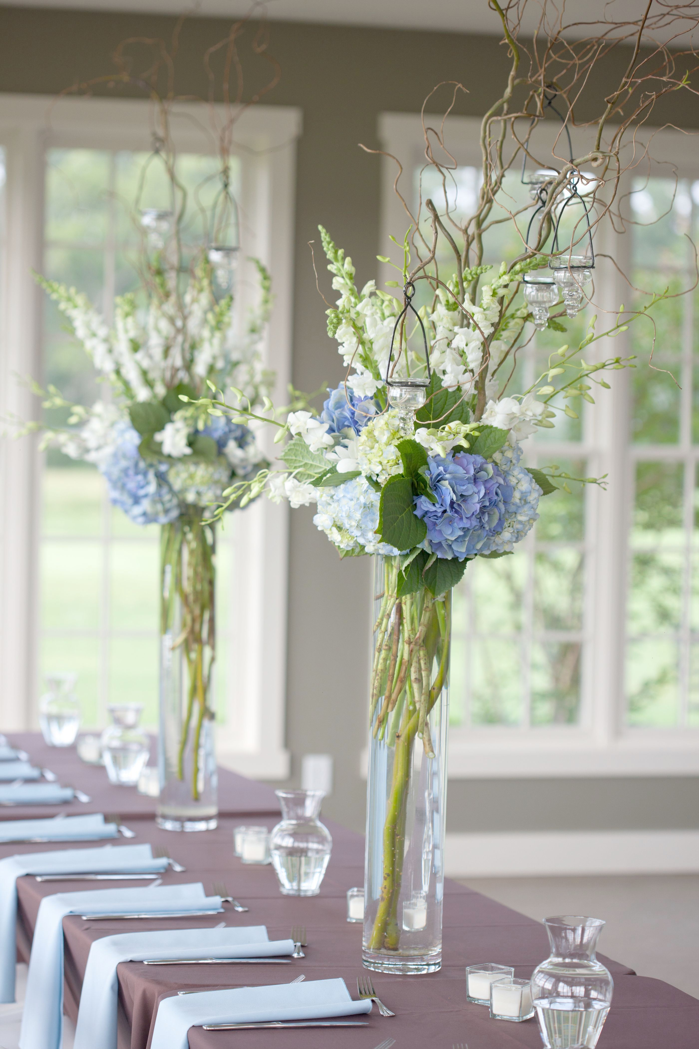 Blue And White Reception Wedding Flowers Wedding Decor Wedding Flower
