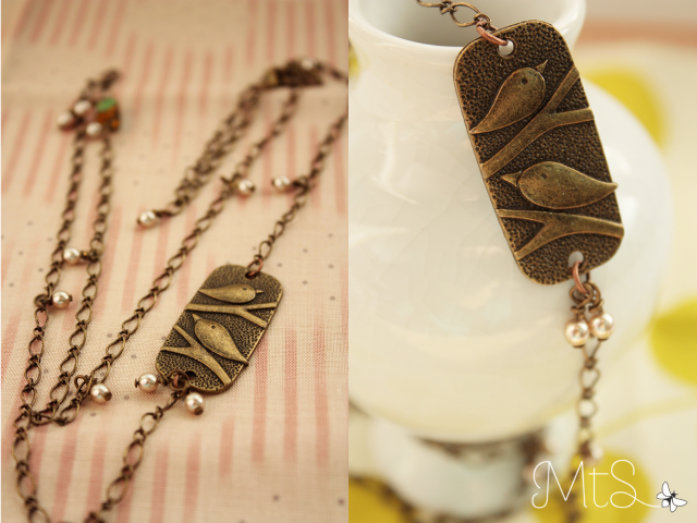 Brass Bird Charm Necklace with pearls + crystals by momentsthatshine.com ♥
