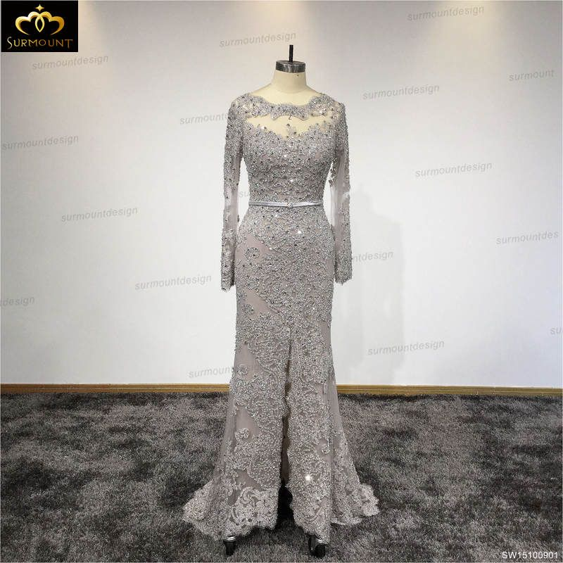 2017 New Design Prom Dress Real Pictures Evening Gown Long Sleeves ...