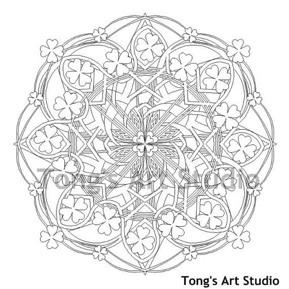 Printable Mandala Coloring007 St Patricks Day coloring page