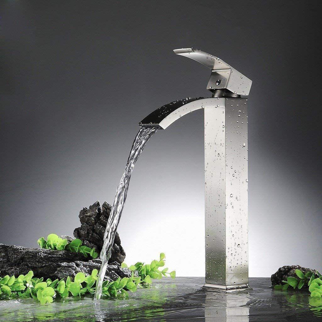 Wovier Brushed Nickel Waterfall Bathroom Sink Faucet Single Handle Sing Bathroom Sink Faucets Waterfall Vessel Sink Faucet Bathroom Sink Faucets Brushed Nickel