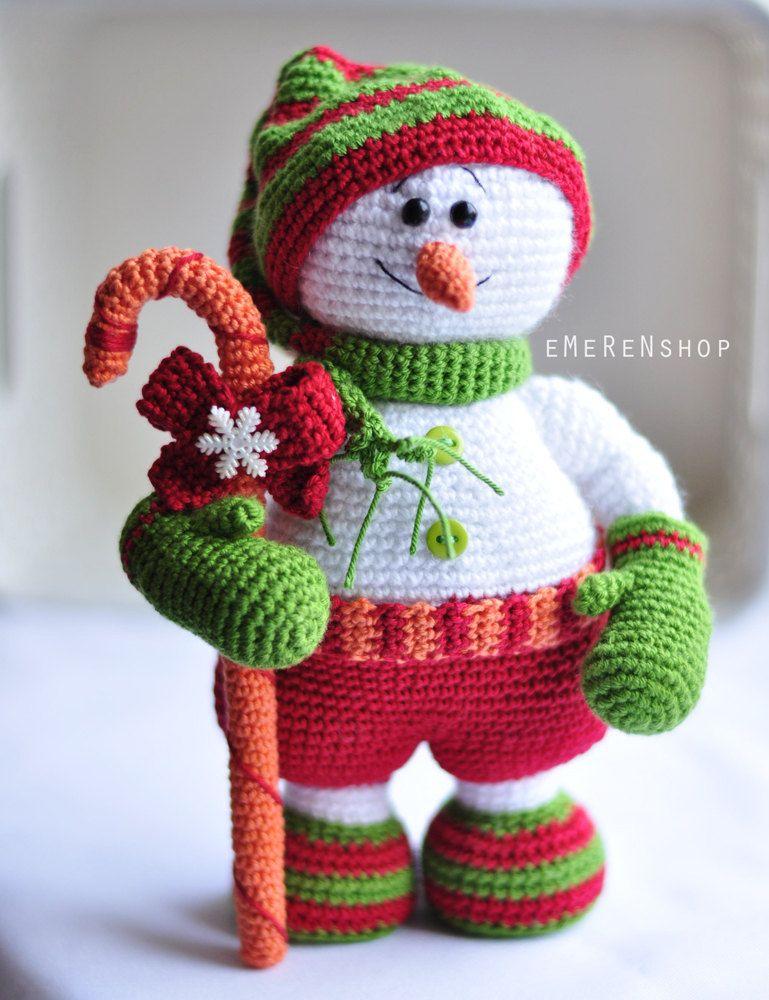 Christmas snowman crochet amigurumi white snow man christmas decoration for table top xmas tree - Decoration au crochet ...