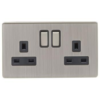 Screwless Satin Nickel 13a Double Switched Socket With Black