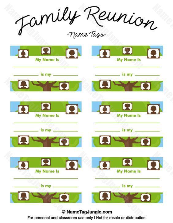 Free printable family reunion name tags with fields for your name - free printable family reunion templates