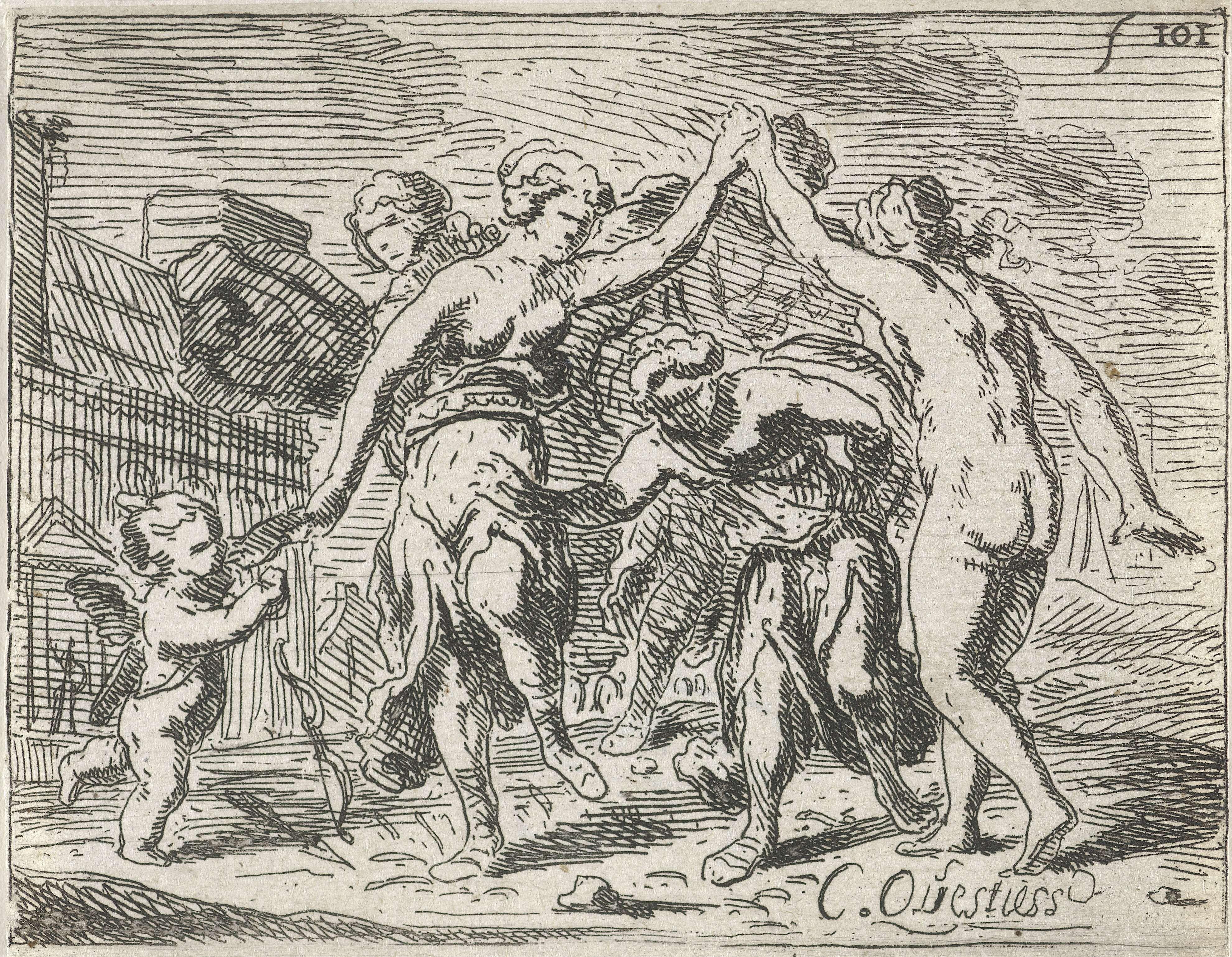 Catharina Questiers   Dansende vrouwen en Amor, Catharina Questiers, 1654   In de buitenlucht dansen een aantal vrouwen. Een van de vrouwen loopt onder de opgeheven armen van twee anderen door. Links danst Amor met zijn boog.