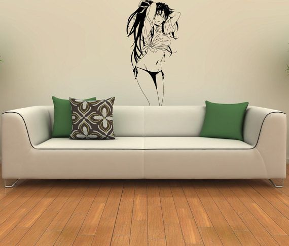 Wall Art Design Decals mysterious eyes wall decal Beautiful Sexy Girl Hair Anime Housewares Wall Vinyl Decal Art Design Murals Modern Interior Decor Sticker