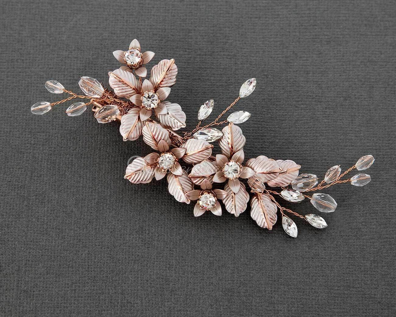 Petite Crystal Bridal Hair Clip of Brushed Metal Flowers #bridalhairflowers