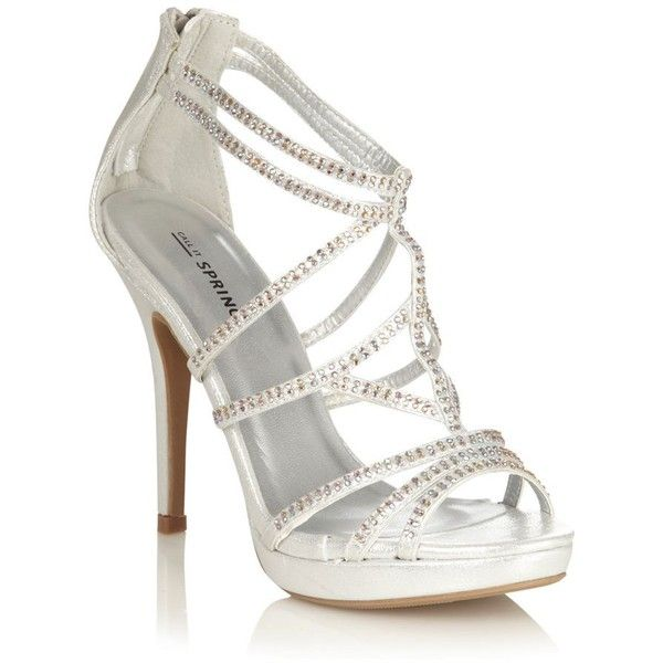 f507cfb14246 Silver high heeled open toed sandals with diamante straps ( 18) ❤ liked on  Polyvore featuring shoes