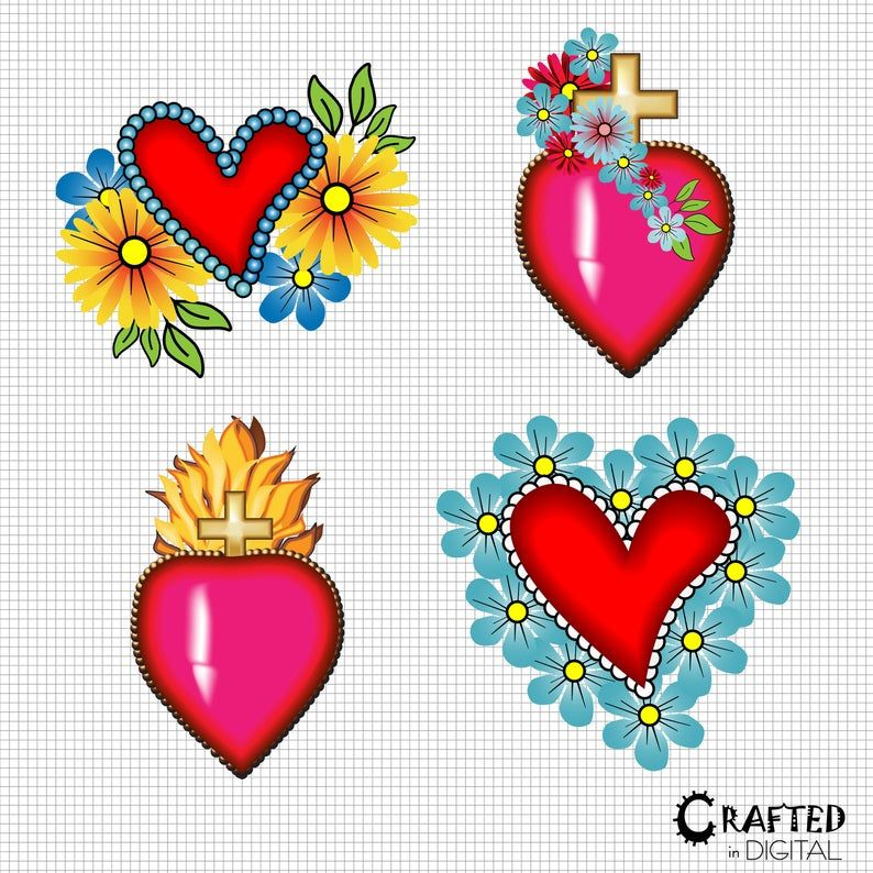 Mexican Hearts Crosses Day Of The Dead Clipart Collection Etsy Clip Art Mexican Folk Art Day Of The Dead