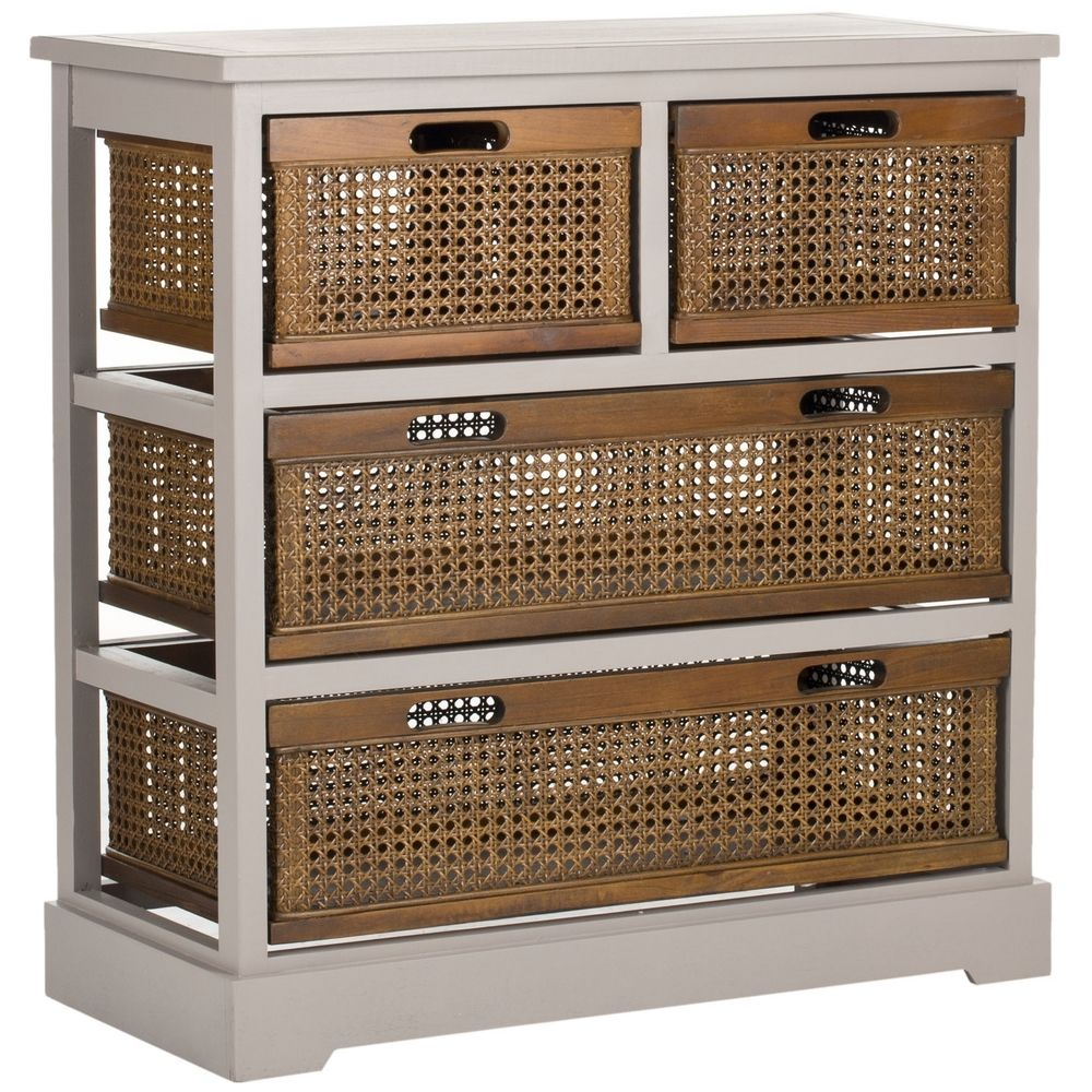 Safavieh Jackson Grey 4 Drawer Wicker Basket Storage Unit