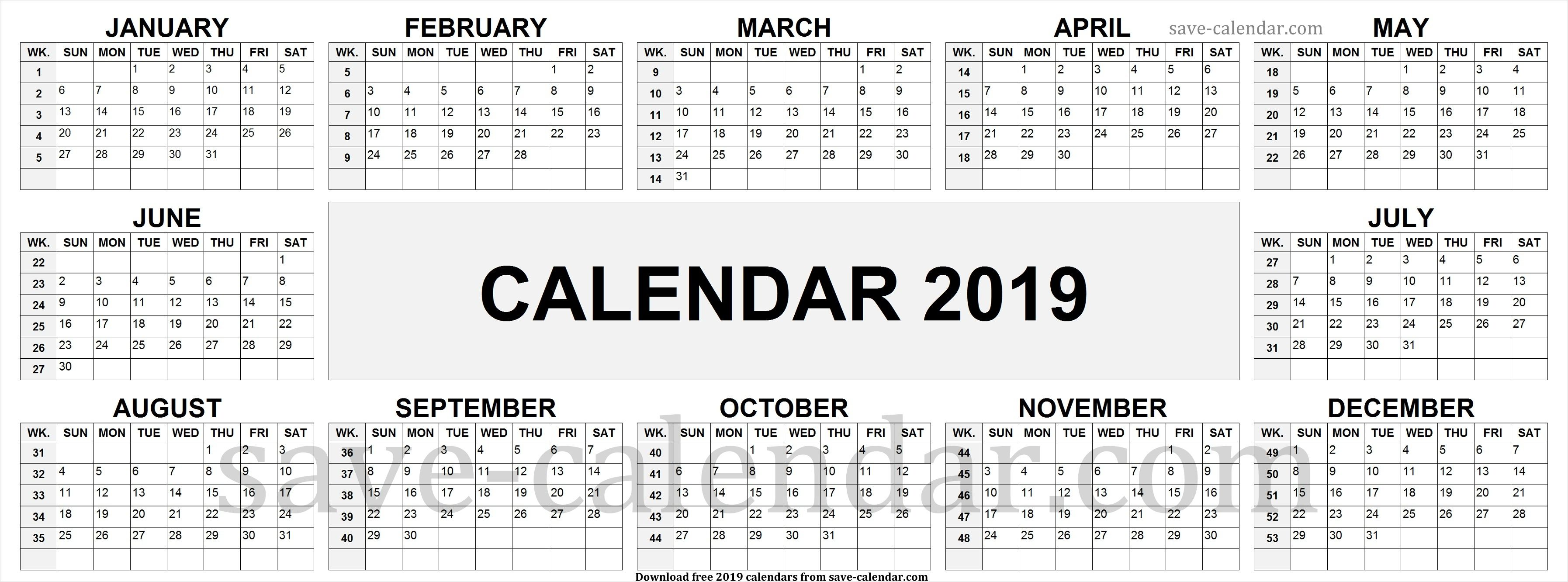Calendar 2019 With Week Numbers 2019 Calendar By Week Numbers | Calendar 2019 with Week Numbers