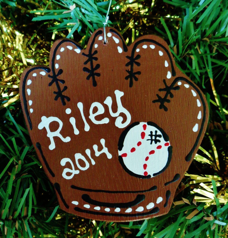 Personalized BASEBALL ORNAMENT Christmas Holiday Name 2014