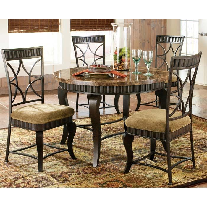 Hamlyn 5 Piece Dinette Set With Marble Top Table Round Dining Room Sets Marble Top Dining Table Round Dining Room