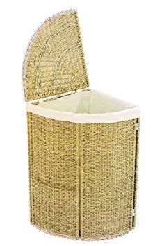 Small Seagrass Corner Linen Bin Folding Storage Laundry Basket