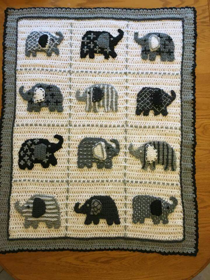 Elephant Afghan My Granddaughter Would Go Crazy She Loves Elephants Crochet Elephant Baby Blanket Crochet Crochet Blanket Patterns