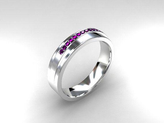 Matt Amethyst ring mens wedding band men wedding ring purple