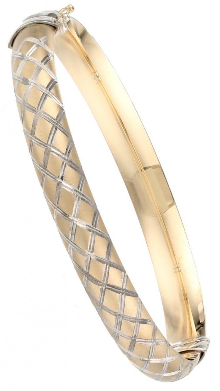 Bonded sterling silver and k yellow gold quilt bangle bracelet